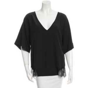 * Elizabeth and James Silk Lace Trim Top